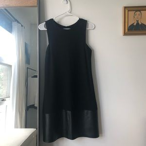 Mixed material leather shift dress